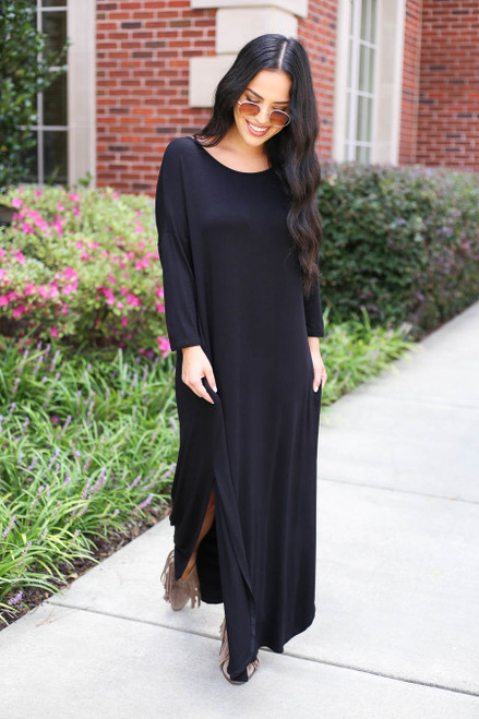 Model wearing Black 3/4 Sleeve Maxi Dress Front View