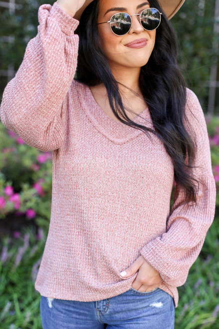 Model wearing Rust Balloon Sleeve Waffle Knit Top