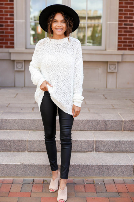 White - Popcorn Knit Sweater Full View