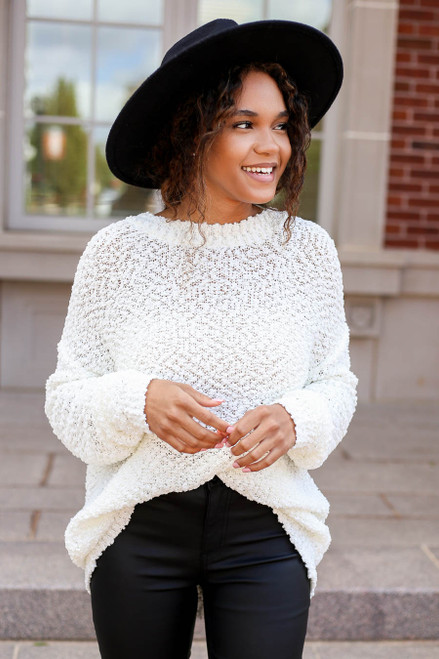 Model wearing White Popcorn Knit Sweater Front View