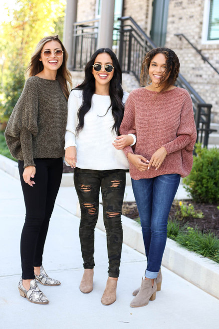 Models wearing Olive, Ivory and Rust Chenille Dolman Sleeve Sweaters
