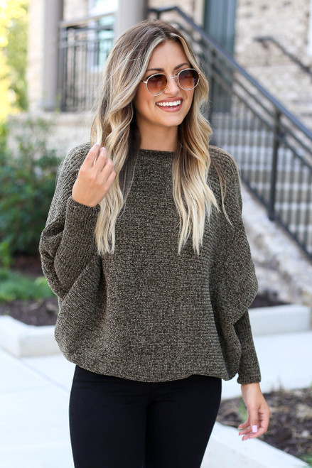 Olive - Chenille Dolman Sleeve Sweater