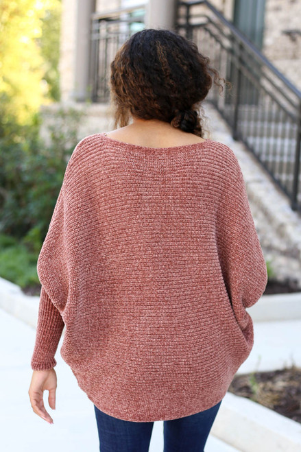 Rust - Chenille Dolman Sleeve Sweater Back View