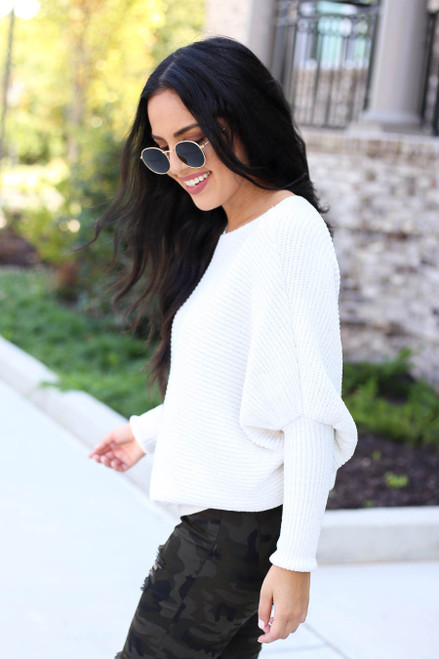 Ivory - Chenille Dolman Sleeve Sweater Side View