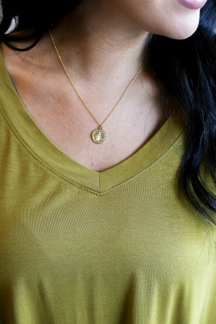Gold - Dainty Coin Necklace on Model