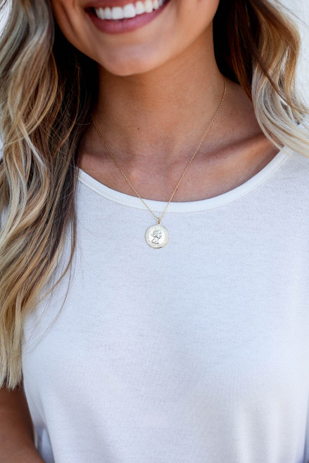 Gold - Coin Necklace on Model