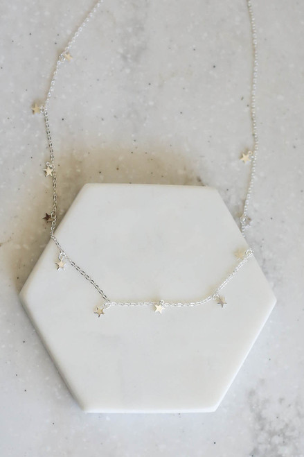 Silver - Star Charm Necklace Flat Lay