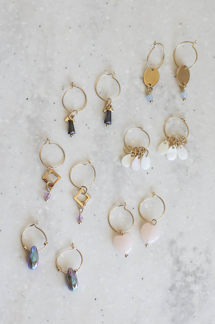 Gold - Multi Color 6 Set Earring Set