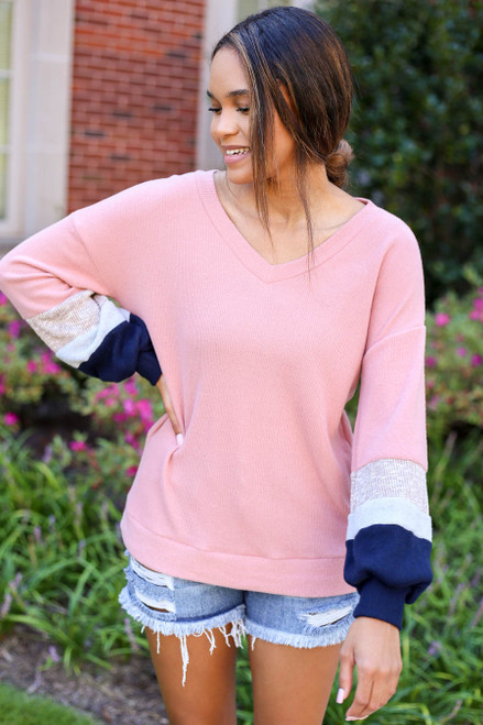 Model wearing Blush Color Block Ballon Sleeve Top Back View Front View