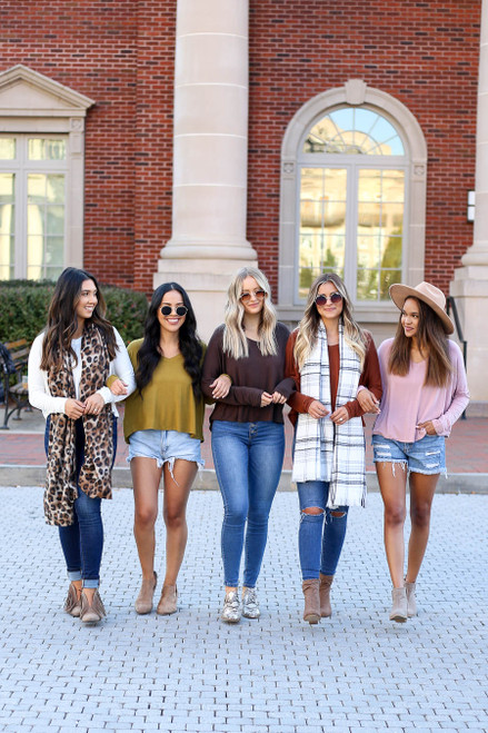 Models wearing White, Lime, Brown, Rust and Blush Long Sleeve Basic V-Neck Tees