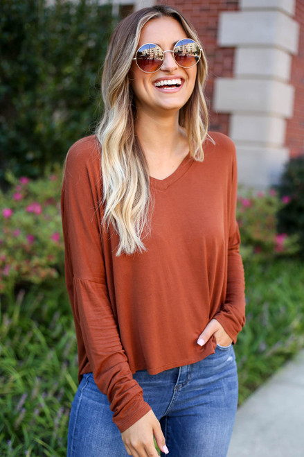Rust - Basic V-Neck Long Sleeve Tee