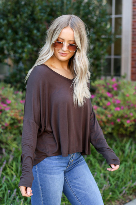 Brown - Basic V-Neck Long Sleeve Tee Side View