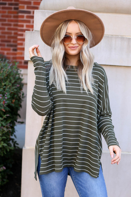 Olive - Striped Thermal Top