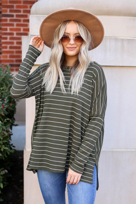 Model wearing Olive and White Striped Thermal Top