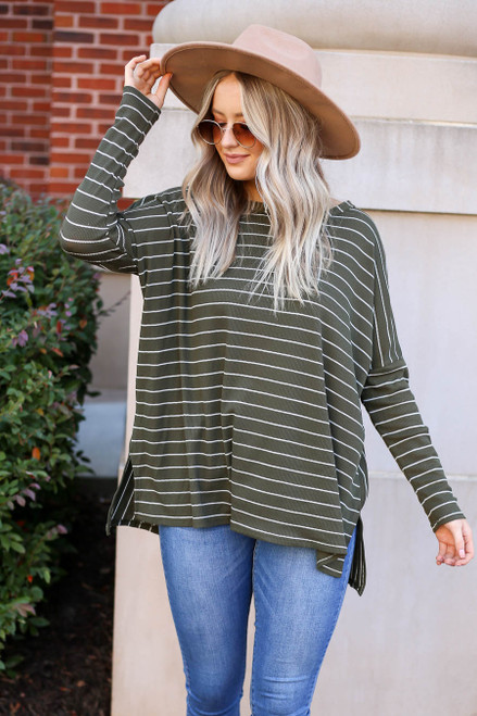 Model wearing Olive and White Striped Thermal Top Front View
