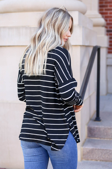 Model wearing Black and White Striped Basic Tee Back View