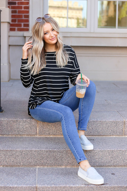 Black - and White Striped Long Sleeve Basic Tee Sitting View