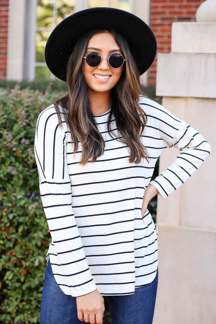 Model wearing White and Black Striped Basic Tee Front View