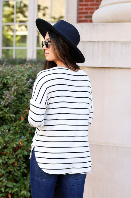 Model wearing White and Black Striped Basic Tee Back View