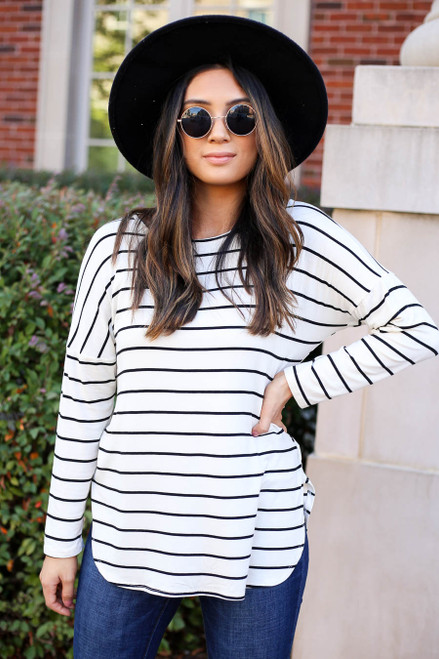 White - and Black Striped Long Sleeve Basic Tee