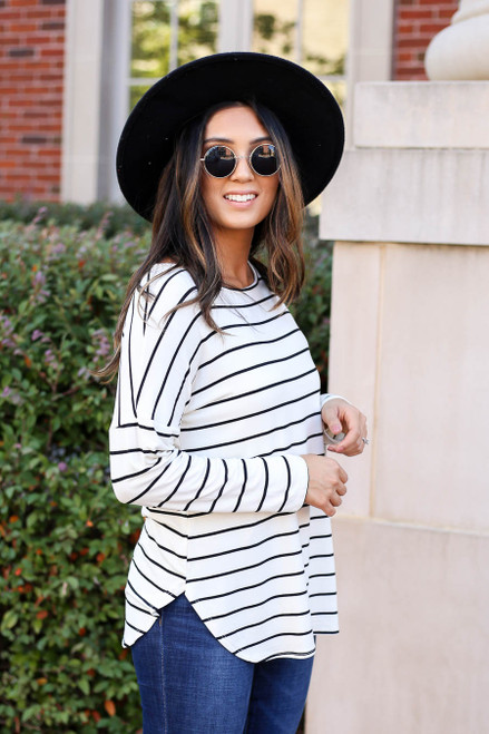 White - and Black Striped Long Sleeve Basic Tee Side View
