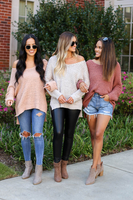 Grey - Marsala and Blush Oversized Knit Sweater