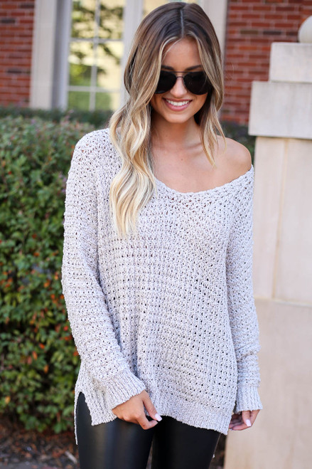 Grey - Oversized Knit Sweater