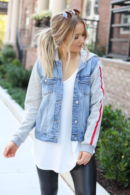 Light Wash - Denim Vested Hoodie with Side Stripe