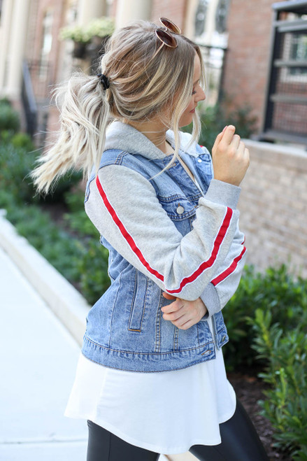 Light Wash - Denim Vested Hoodie with Side Stripe Side View
