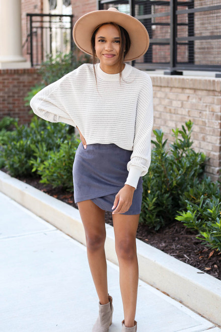 Model wearing Charcoal Faux Suede Envelope Mini Skirt