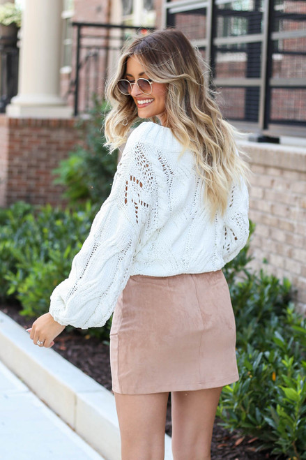 Model wearing Taupe Faux Suede Envelope Mini Skirt Back View