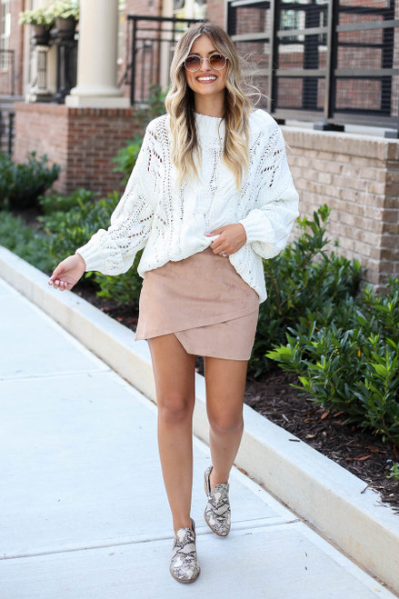 Taupe - Faux Suede Envelope Mini Skirt Full View