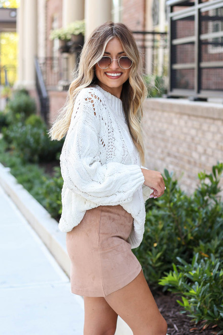 Model wearing Taupe Faux Suede Envelope Mini Skirt Side View