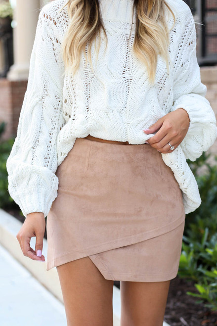 Taupe - Faux Suede Envelope Mini Skirt Detail View