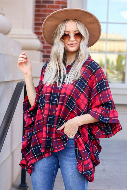 Model wearing Red Oversized Plaid Ruffle Sleeve Top
