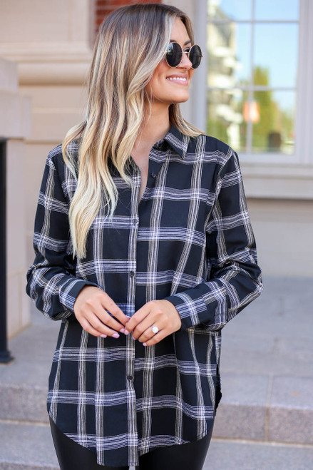 Black - and White Plaid Flannel Front View