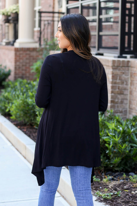 Black - Lightweight Cardigan Back View