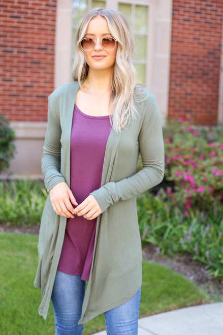 Model wearing Olive Lightweight Cardigan