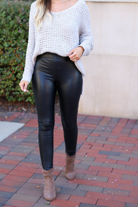 Black - Super High Rise Faux Leather Leggings Detail View
