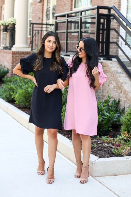 Models wearing Black and Mauve Ruffle Sleeve Dresses