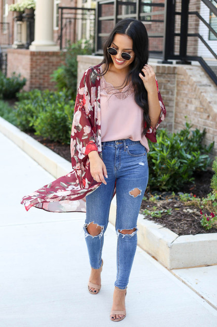 Model wearing Burgundy Sheer Floral Kimono