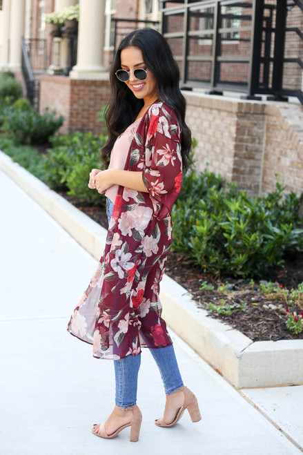 Burgundy - Sheer Floral Kimono Side View