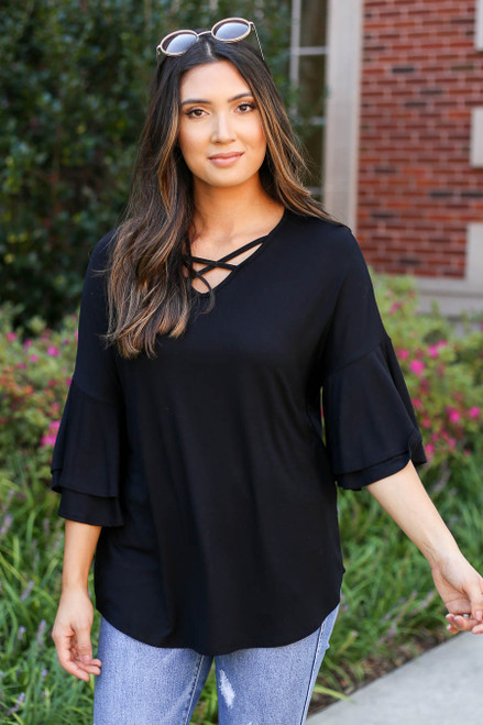 Black - Criss Cross Ruffle Sleeve Top