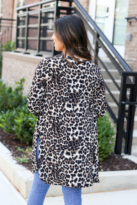 Model wearing Leopard Lightweight Cardigan Back View