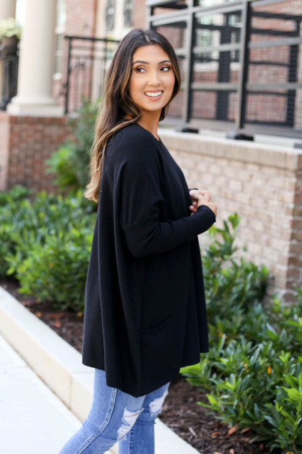 Black - Oversized Ribbed Sweater Tunic Side View