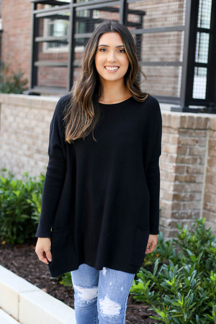 Black - Oversized Ribbed Sweater Tunic