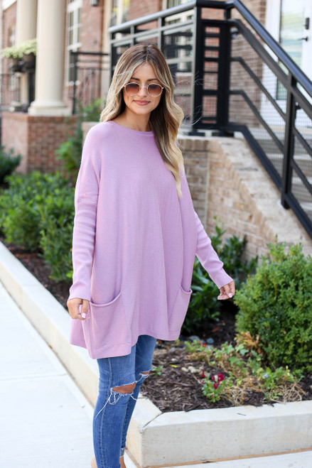 Lilac - Oversized Ribbed Sweater Tunic Full View
