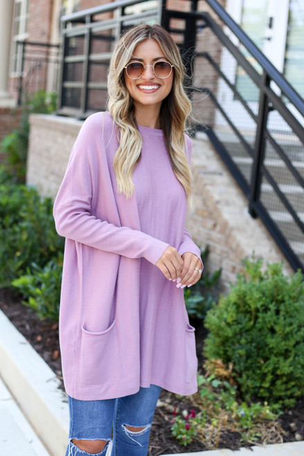 Lilac - Oversized Ribbed Sweater Tunic