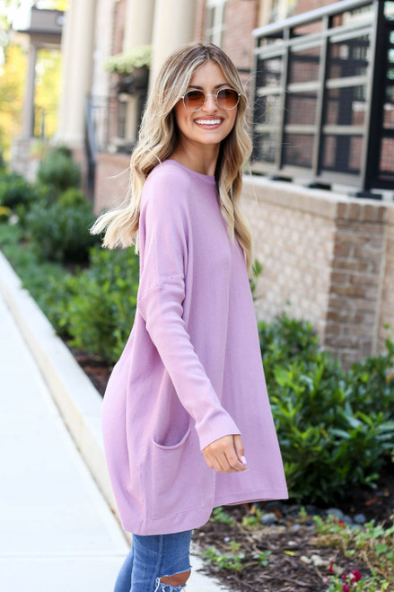 Model wearing Lilac Oversized Ribbed Sweater Tunic Side View