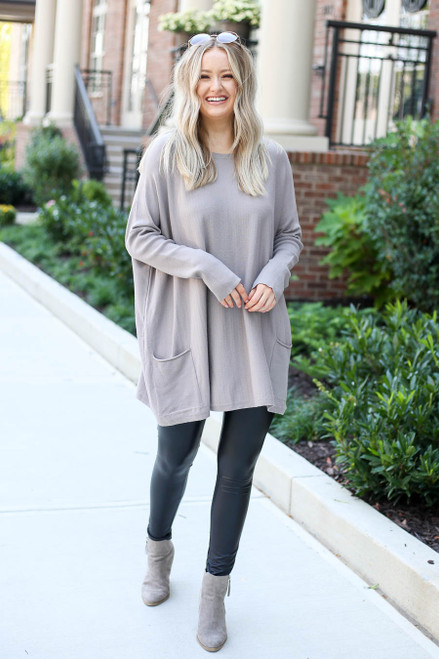 Model wearing Taupe Oversized Ribbed Sweater Tunic Full View
